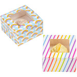 24-Pack Cupcake Boxes - Rainbow & Unicorn Themed Individual Containers with Window and Inserts, Glossy Bakery Box, 2 Designs, 5 x 3 x 5 Inches