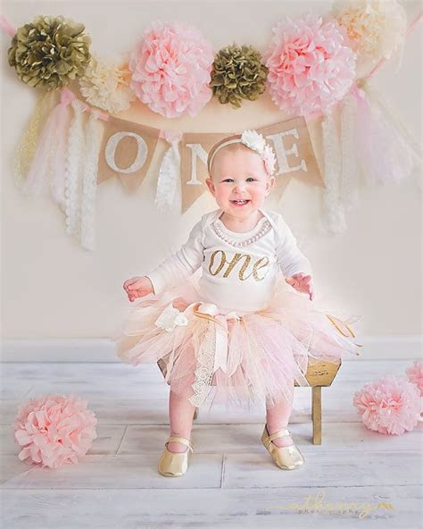 Pink & Ivory Lace Tutu Skirt First Birthday Cake Smash