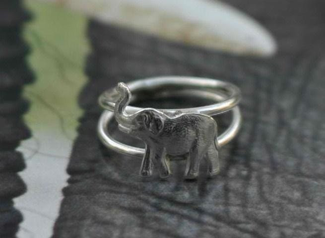 Sterling Silver Ring Elephant Trunk Up Good Luck