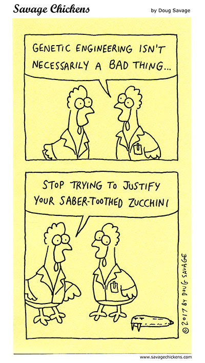 Genetic Engineering Cartoon | Savage Chickens - Cartoons on Sticky Notes by Doug Savage