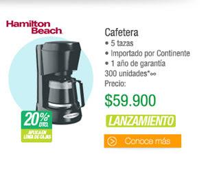 Cafetera - • 5 tazas• Importado por Continente • 1 año de garantía 300 unidades - PRECIO: $59.900