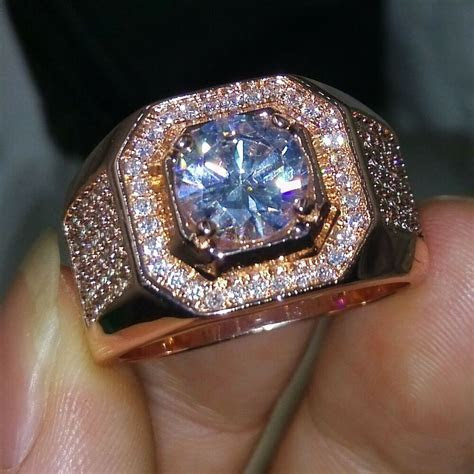 Handmade Men 3Ct Diamonique Cz Rose Gold Plated 925 Silver