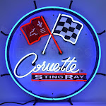 C2 Corvette Sting Ray Emblem Neon Sign with Backing