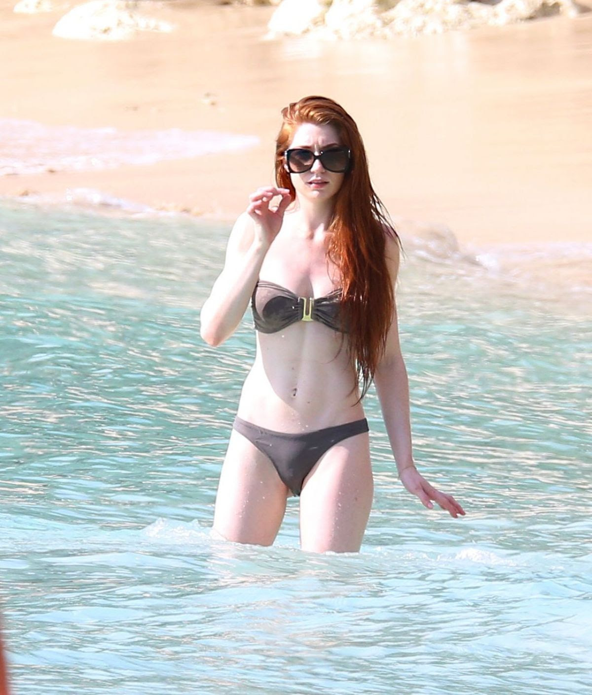 NICOLA ROBERTS in Bikini on the Beach in Barbados 01/28/2016