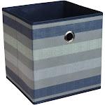 """11"""" Fabric Cube Storage Bin Navy Stripe - Room Essentials"""