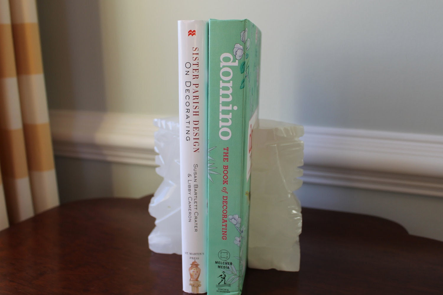 Carved marble bookends