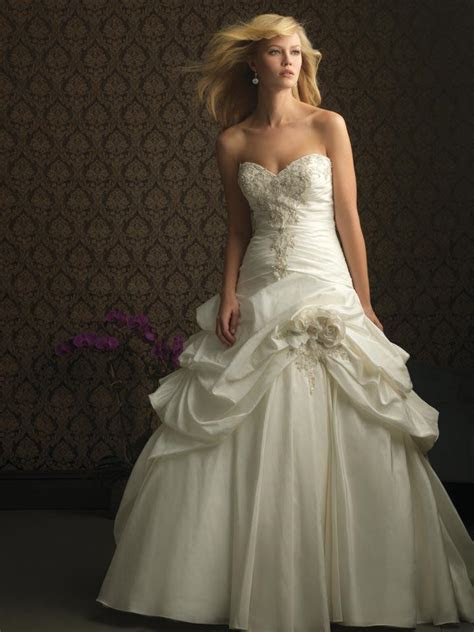 Ivory Strapless Romantic Taffeta Designer Wedding Dress