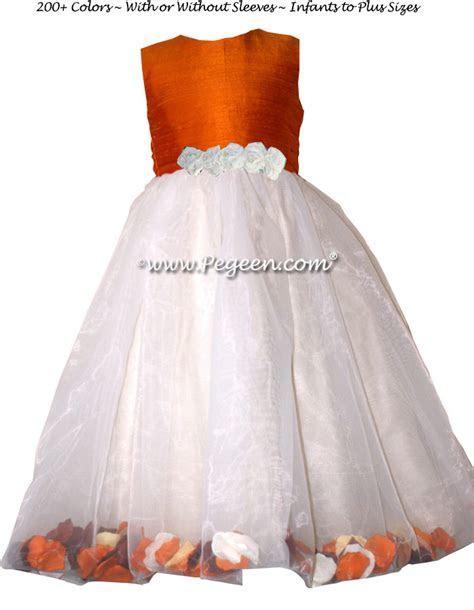 Pumpkin Orange and Ivory Flower Girl Dresses   Pegeen