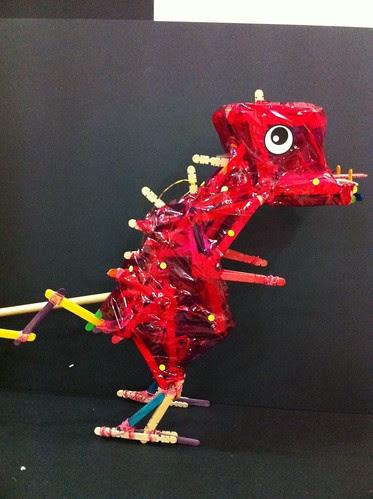Dinosaur made of ice cream sticks & rubber bands