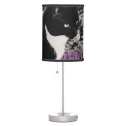 Freckles in Flowers II, Tuxedo Kitty Cat Lamps