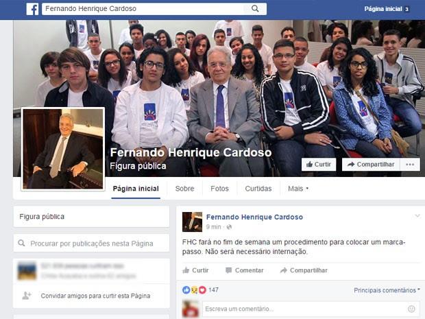 FHC comentou cirurgia no Facebook (Foto: Reprodução/Facebook)