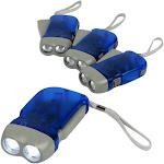Evelots Powerful Hand Crank 4-Piece Flashlight Set - Blue - White LED