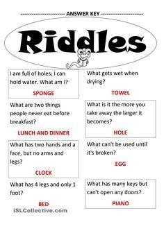 11+ Fun Riddle Worksheets