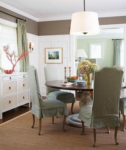 Grey & Aqua traditional dining room