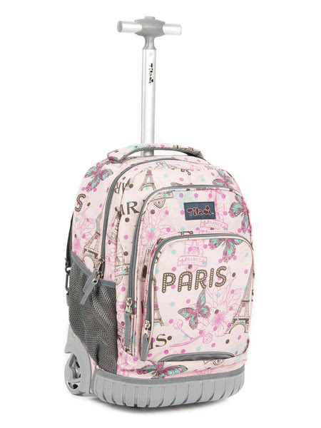 Tilami Rolling Backpack Armor Luggage School Travel Book Laptop 18 Inch Multifunction Wheeled Backpack Pink Butterfly