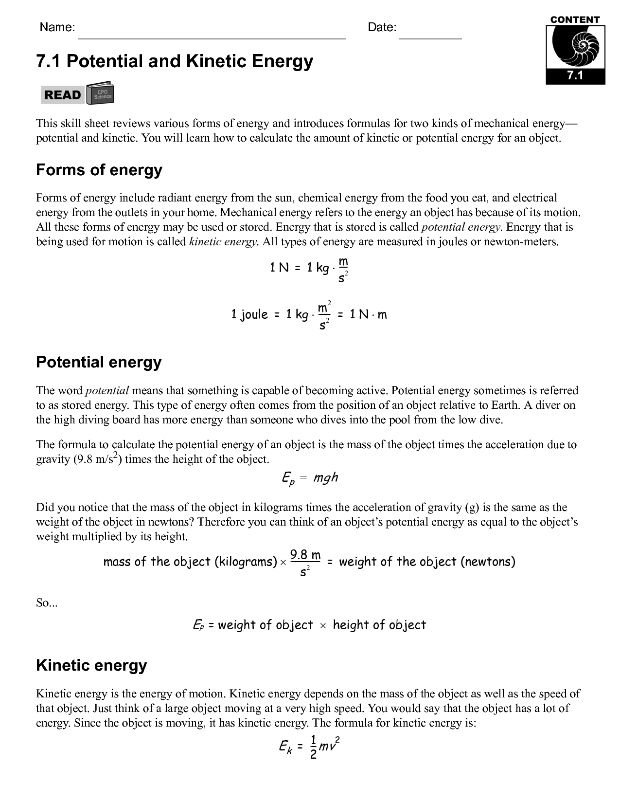 17 Best Images of Potential Energy Practice Problems Worksheet  Potential and Kinetic Energy