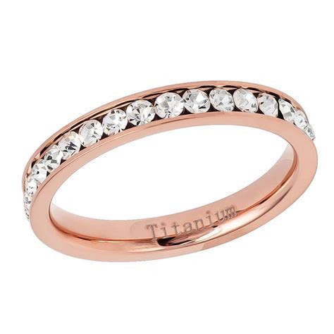 3mm Titanium Band Rose Gold IP Plated Eternity Ring Cubic