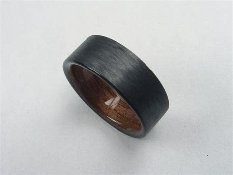 Mens wedding ring with Wood, Carbon Fiber and Black Walnut