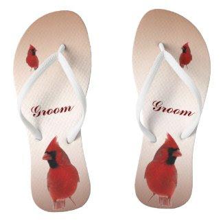 Cardinal Wedding Groom Flip Flops
