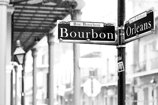 Photo Print of BOURBON STREET RAINY DAY FRENCH QUARTER NEW ORLEANS BLACK AND WHITE Print Framed Picture Fine Art Photography Large Print Wall Decor Art For Sale Stock Image Photo Photograph High Resolution Digital Download Aluminum Metal Acrylic Canvas Framed Photo Print Buy Photo by Robert Wojtowicz Fine Art Photographer