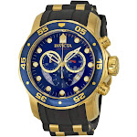 Invicta Pro Diver Chronograph Blue Dial Black Rubber Mens Watch 6983