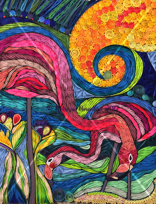 Aloha, Colleen Wilcox shares her flamingo art for quilled paper interpretation by Kristen Brunton - Essentially Paper