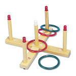 Champion Sport QS1 Ring Toss Set Plastic-Wood Assorted Colors 4 Rings-5 Pegs-Set