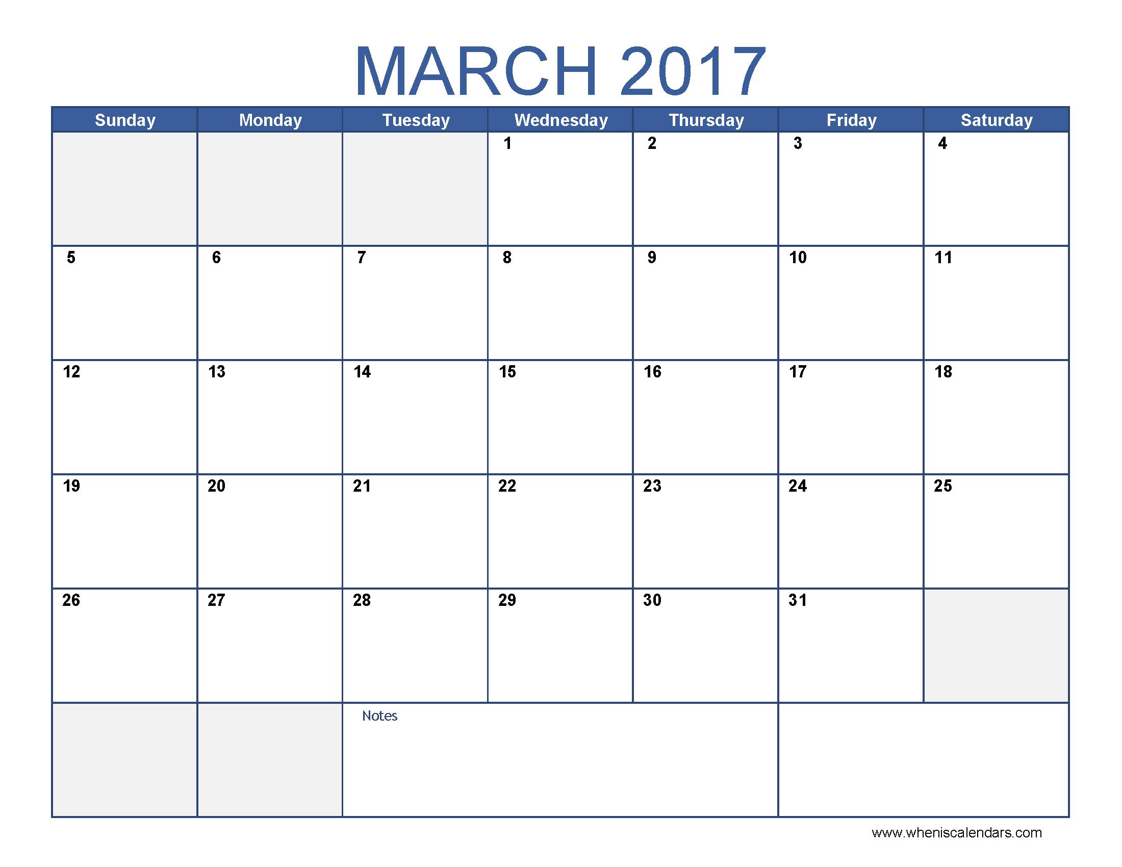 Calendar 2017 March | february calendars
