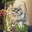 Grey or Russian Blue Cat Wine Glasses | Clearly Susan