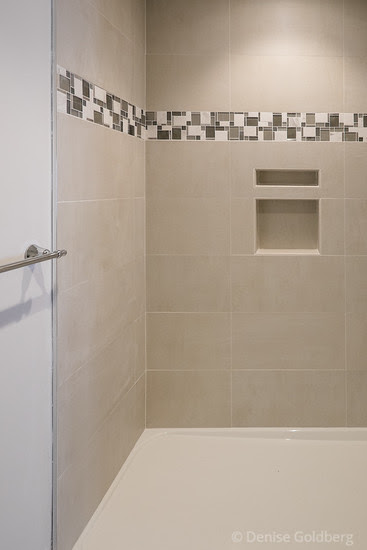 master bath shower showing tile and mosaic