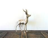 vintage brass deer figurine - buck - christmas - compostthis