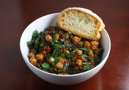 Chickpea and Slow Roasted Tomato Stew with Kale and Chorizo