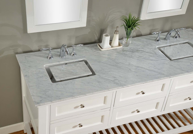 70-inch Pearl White Mission Spa Double Vanity Sink Cabinet