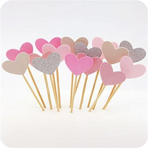 Cupcake Toppers 50Pcs Set, GUGUJI Funny Pink Heart DIY