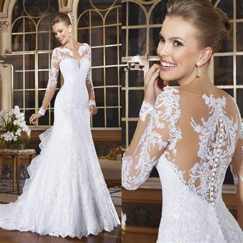 Sexy Mermaid Wedding Dresses Romantic Lace Appliqued Bride