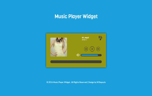 Music Player Widget Flat Responsive Widget Template - w3layouts.com