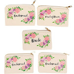Set of 5 Bridesmaid Makeup Bags, Maid of Honor Bride Canvas Cosmetic Gift Pouches for Bridal Shower, Bachelorette Party, Wedding Favors, Vintage