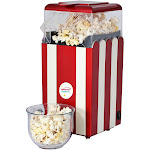 Brentwood PC-488R Classic Striped Retro Style 8-Cup Hot Air Popcorn Maker, Red by VM Express