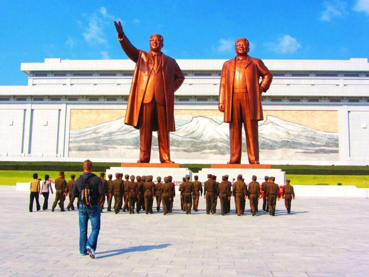 They also visited the Dear Leader, right, and Great Leader, left, statues in Pyongyang, which feature statues of Kim Jong Il and his father, Kim Il Sung. Justin and Anna were required to bow before the massive statues and lay a bouquet in front of them.