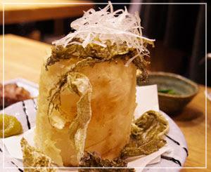 これぞインスタ映え?な、「大根おでんの天ぷら」。すごかった。美味しかった。