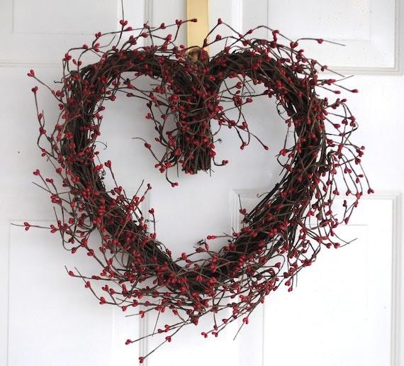 Red Berry Valentine Heart Wreath