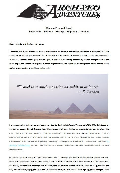 February Travel Newsletter out to Subscribers | Archaeoadventures: Women-Powered Travel