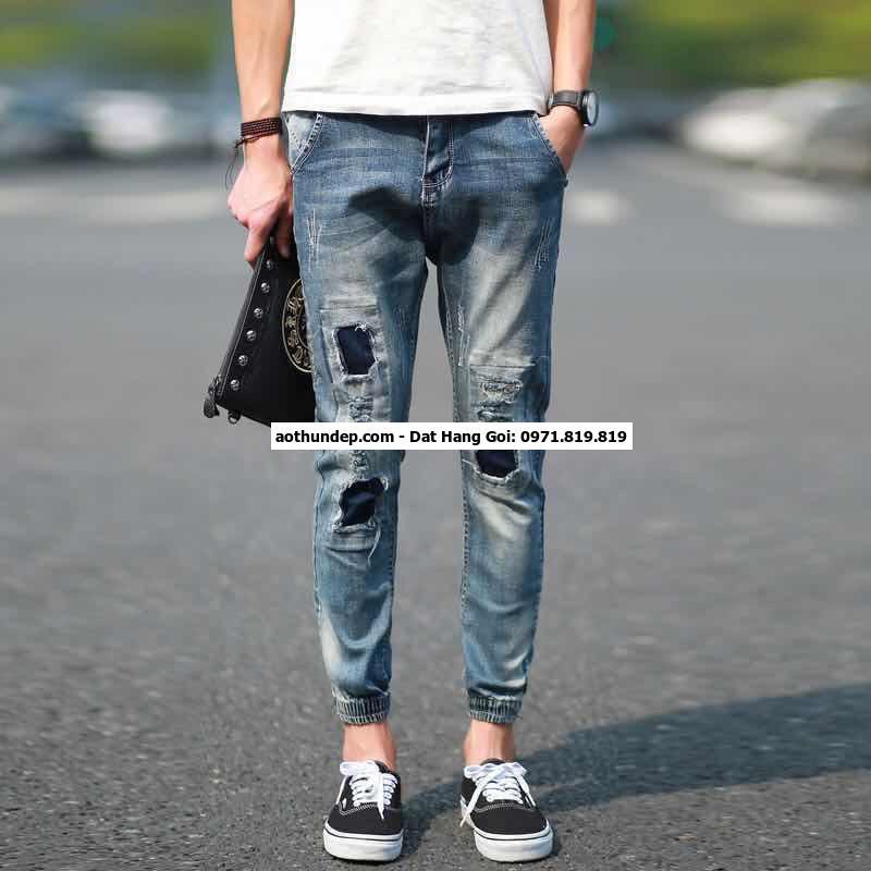 cách bóp ống quần jean nam