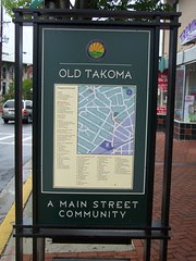 Takoma Park street sign, business directory
