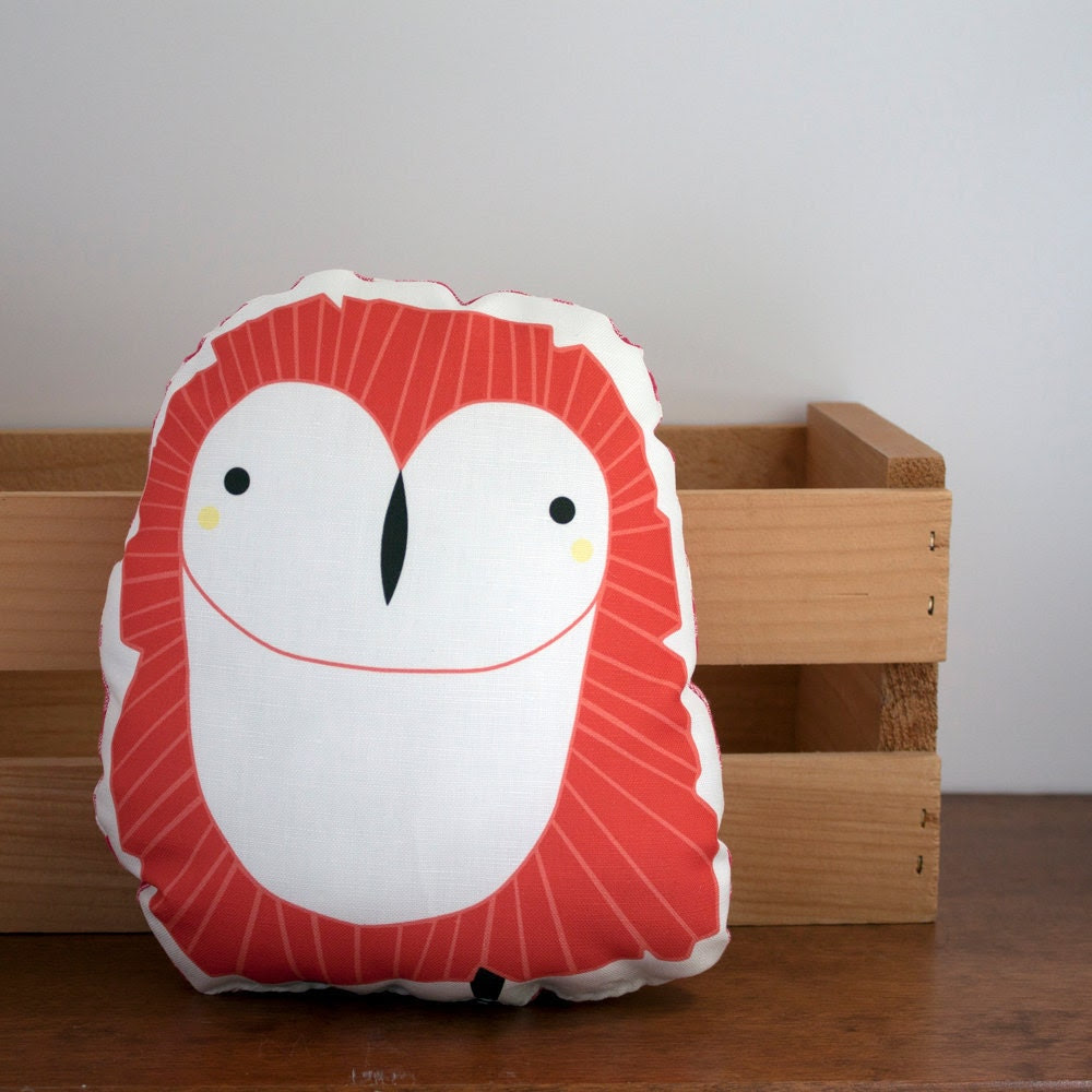 Owl Nursery Decor Photograph | Clearance Red Owl Pillow Nurs
