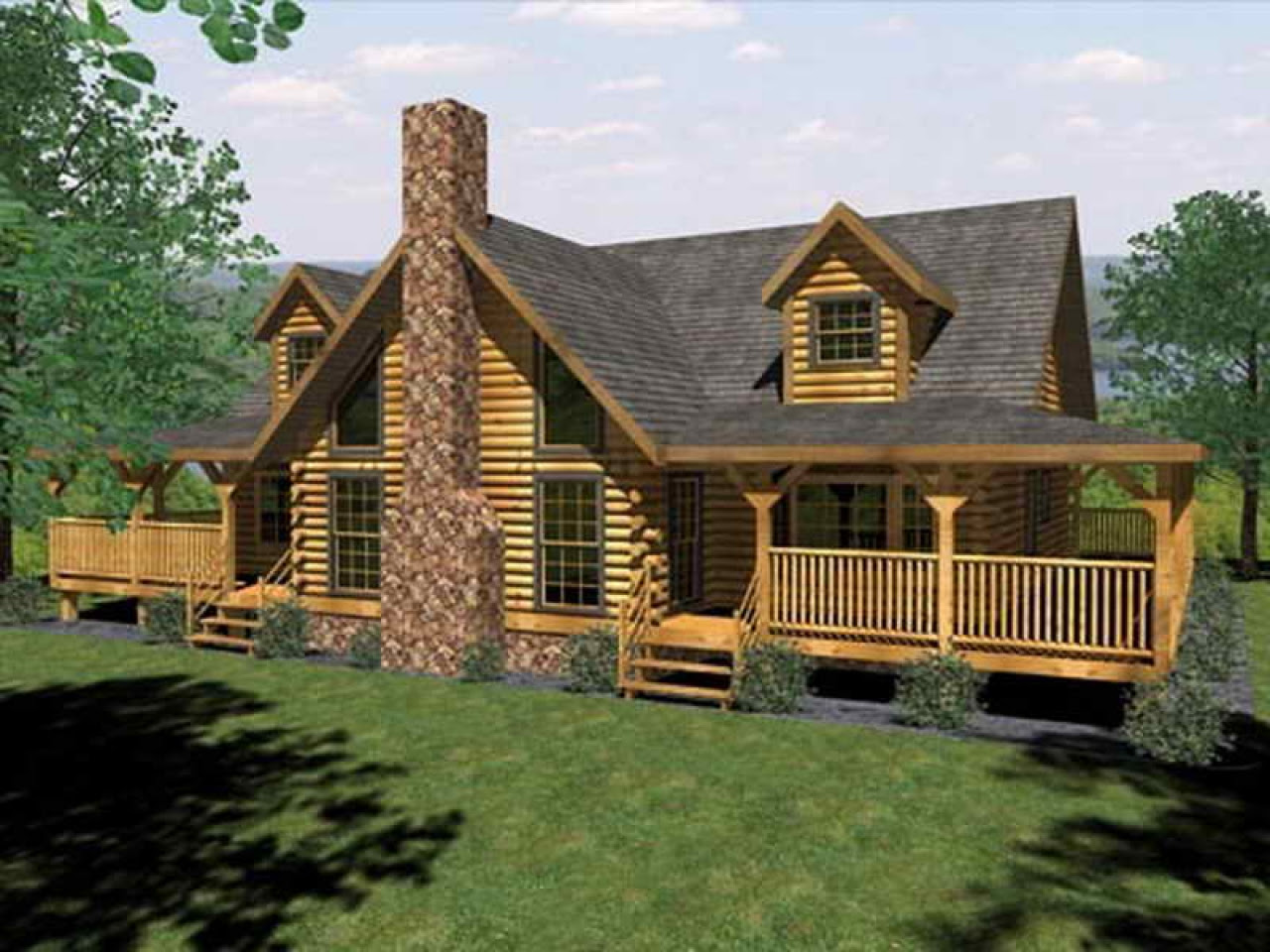 Log Cabin House  Plans  with Open Floor Plan  Log Cabin House