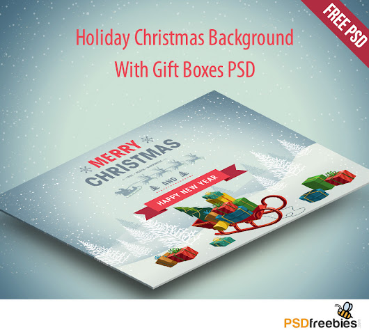 Holiday Christmas Background with Gift Boxes PSD - PSDFreebies.com