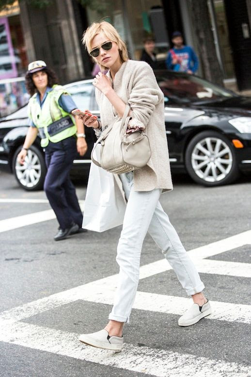 Le Fashion Blog Model Off Duty Style Sasha Luis Spring Neutrals Aviator Sunglasses Nude Cardigan Cream Studded Bag Light Wash Boyfriend Jeans Slip On Sneakers Via A Love Is Blind