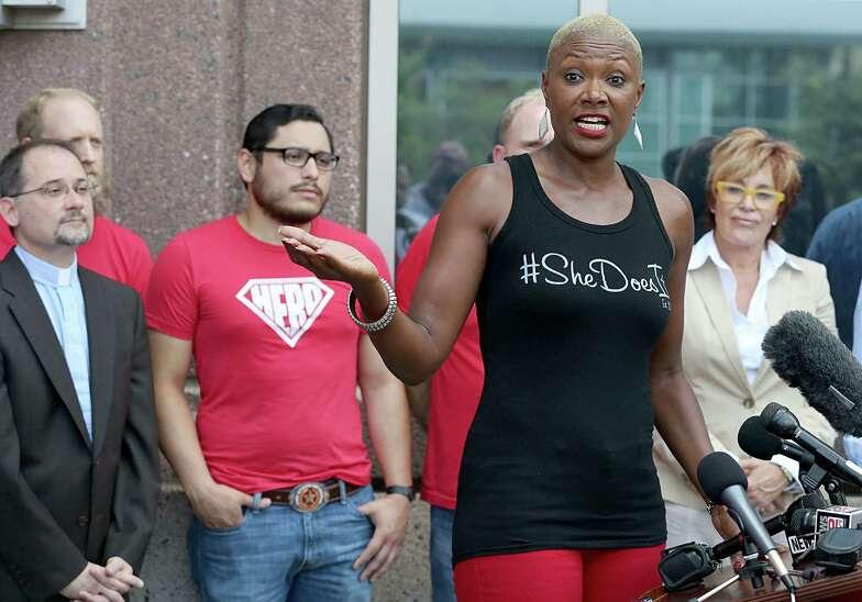 Former city councilor Jolanda Jones speaks about Equal Rights Ordinance on August 15, 2014 at 201 Caroline St. in Houston, TX.