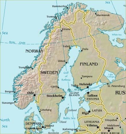 Mapa de Escandinavia y el norte de Europa